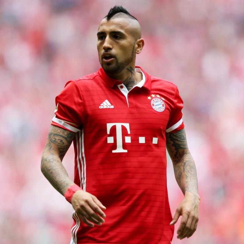 Official 2016/2017 Bayern Munich Shirt Signed by Arturo Vidal