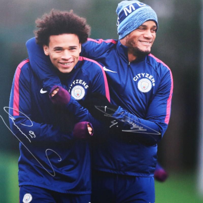 Leroy Sané & Vincent Kompany Manchester City A2 Signed Photograph