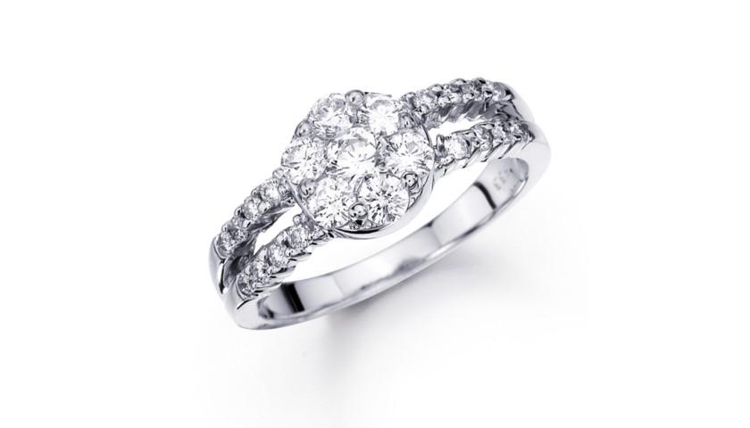 14KT White Gold 1.00 Carat Diamond Ring with Split Shank