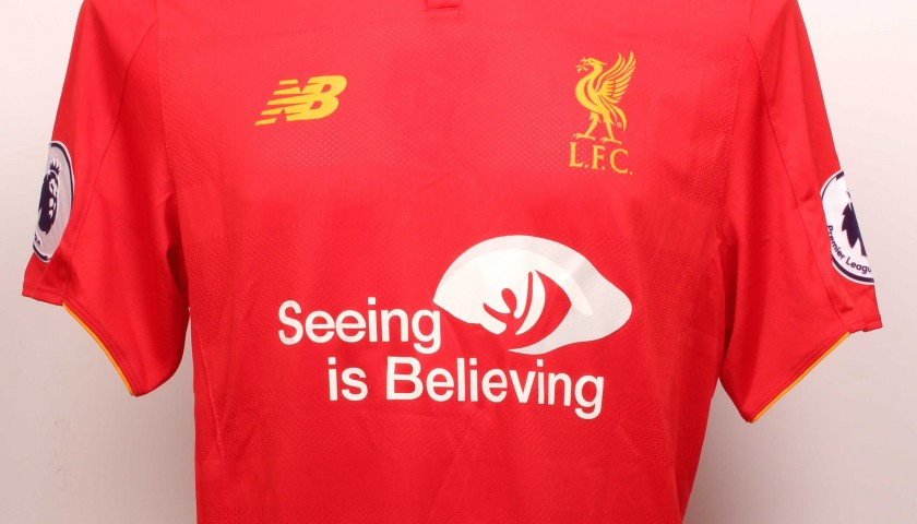 finest selection 17f82 0eb2c Jordan Henderson Worn and Signed Limited Edition 'Seeing is Believing'  16/17 Liverpool FC shirt - CharityStars