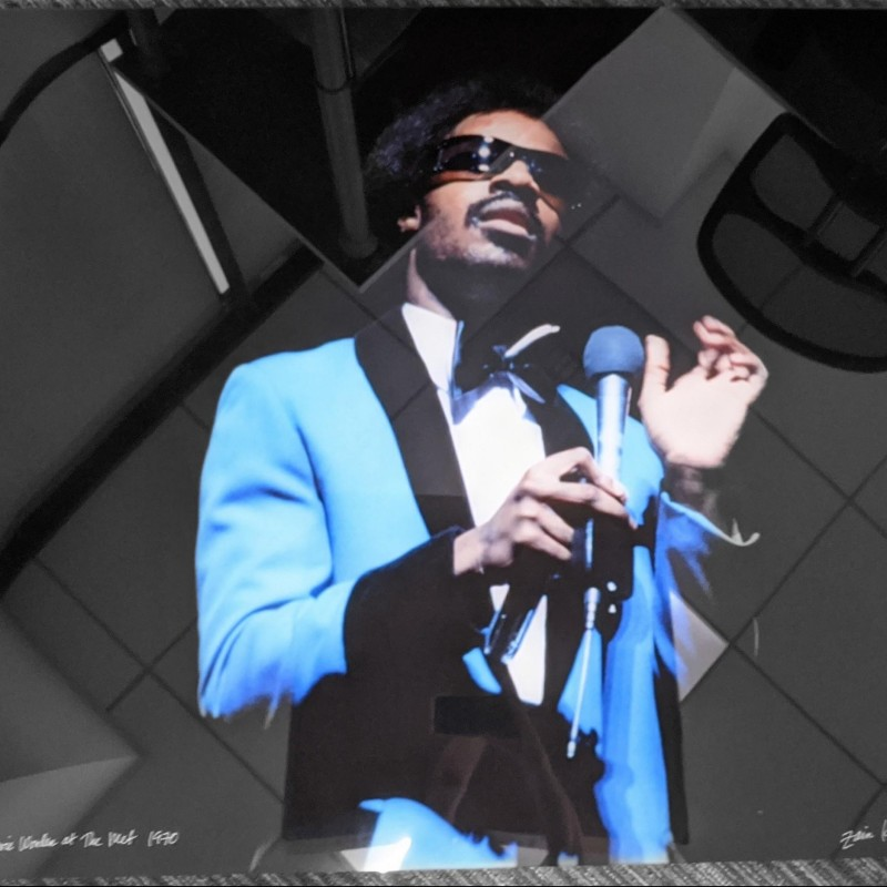 Lucite Photograph of Stevie Wonder