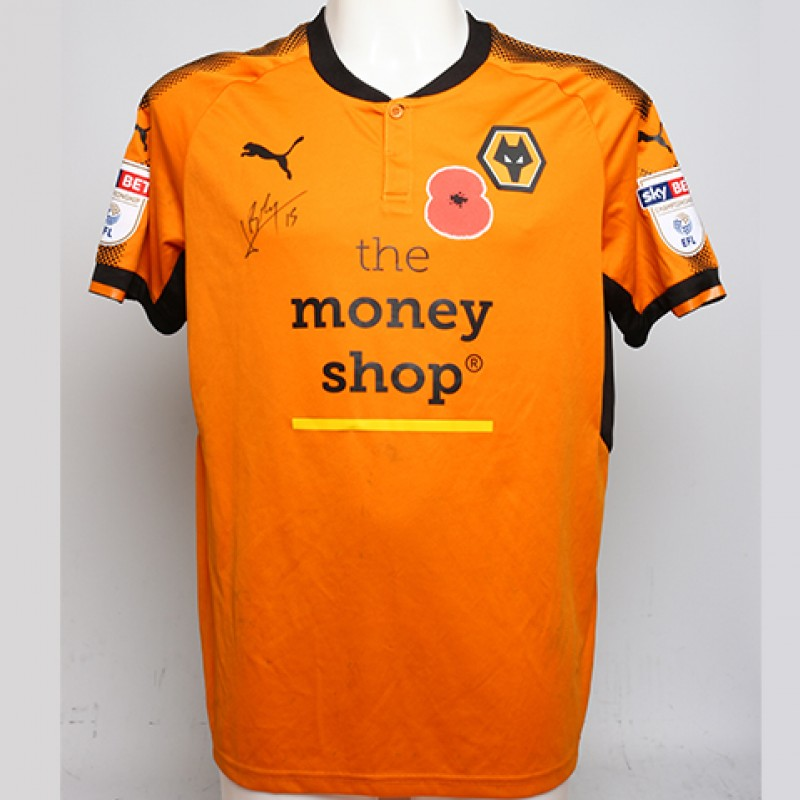 Poppy Shirt Signed by Wolverhampton Wanderers FC's Willy Boly