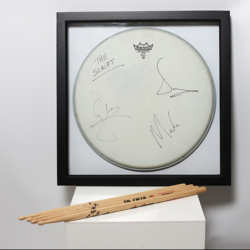 Glen Power, The Script Signed and Framed Drum Head and Sticks