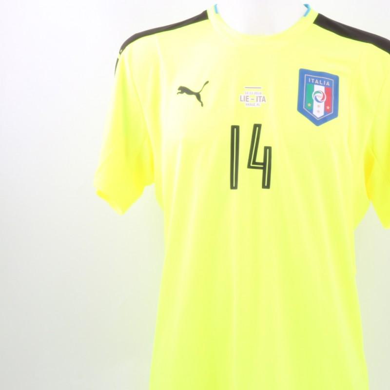 Perin issued/worn shirt, Liechtenstein-Italy 12/11/2016