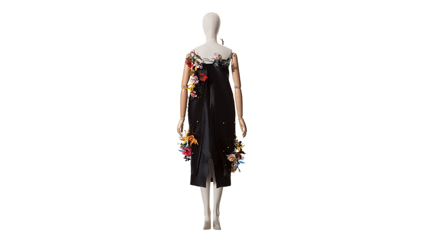Dress with Floral Sculpture by Roberto Verino