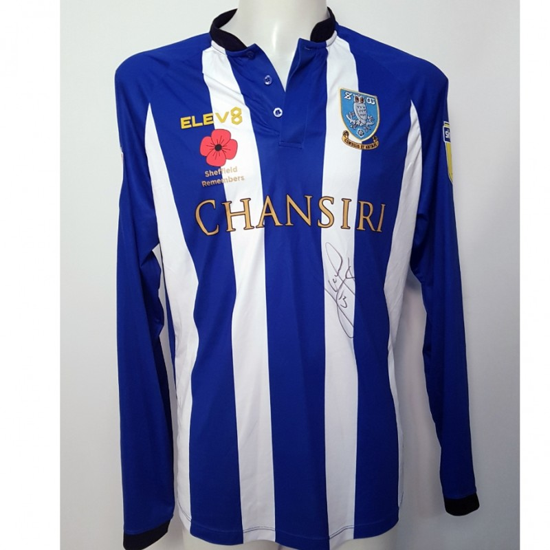 Lucas João's Sheffield Wednesday Worn and Signed Poppy Home Shirt (Long Sleeve)