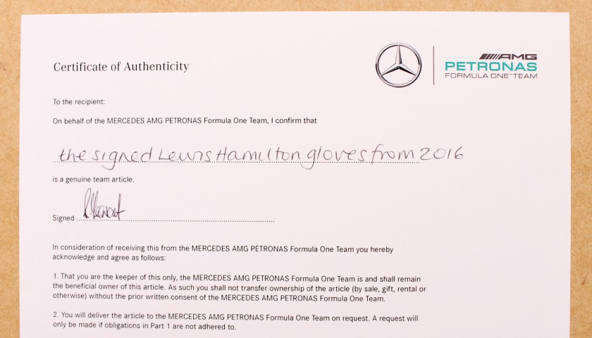 Signed Gloves Used by Lewis Hamilton in US GP Win