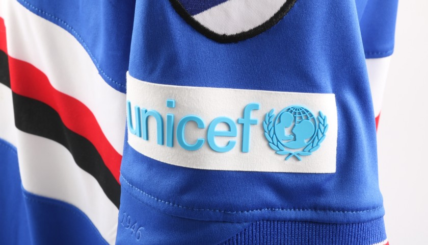 Quagliarella's Worn Shirt with Special UNICEF Patch, Sampdoria-Bologna