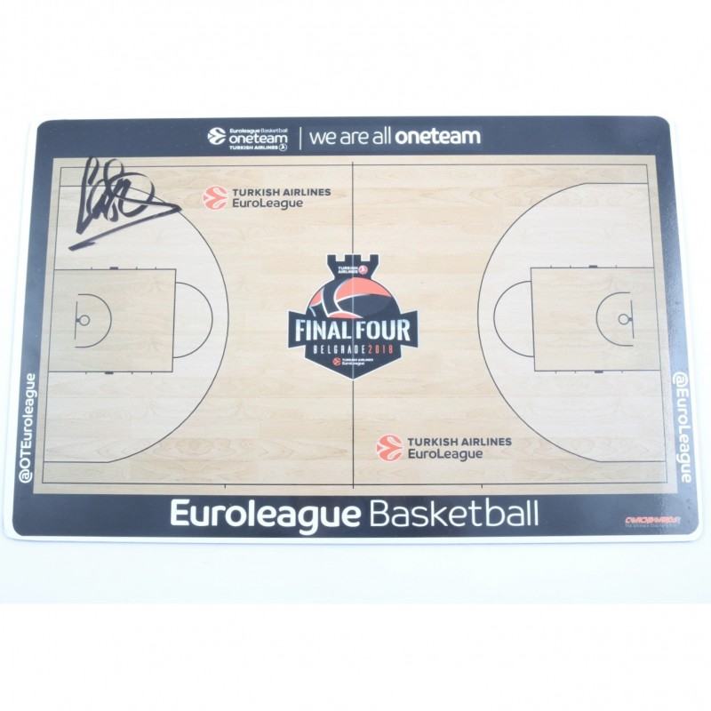 2018 Turkish Airlines EuroLeague Final Four Coach Board signed by Pablo Laso