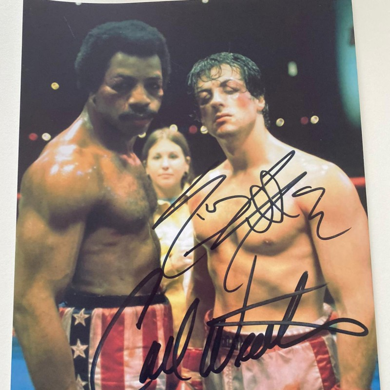 Photograph Signed by Sylvester Stallone and Carl Weathers
