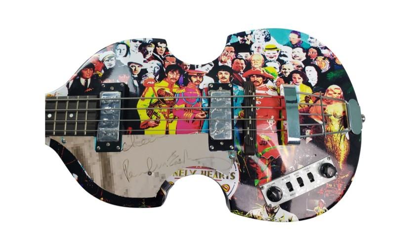 Beatles Paul McCartney Autographed Hofner Graphics Bass