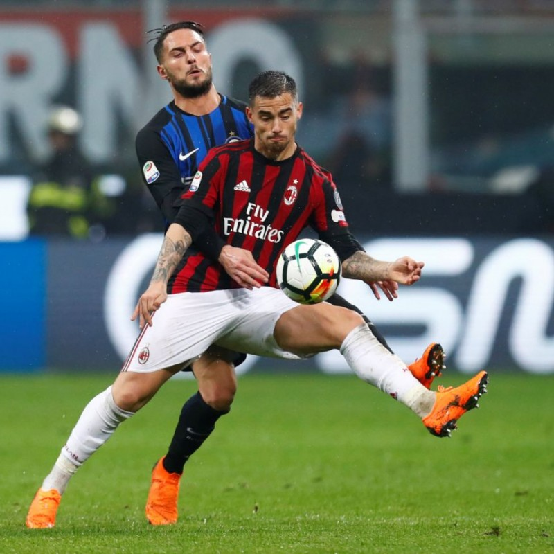 Suso's Match-Issued Milan-Inter Shirt with Special Patch