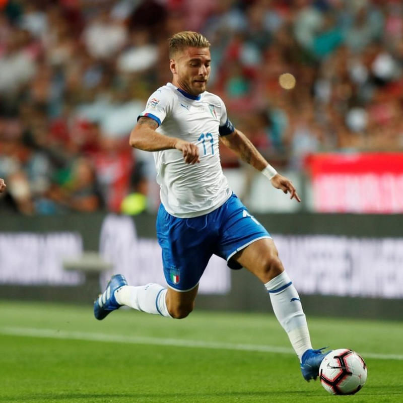 Immobile's Match-Issue / Worn Shirt, Portugal-Italy 2018