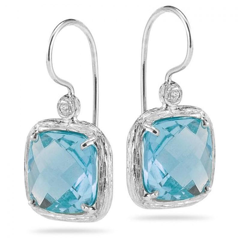 Reiss Blue Topaz Earrings with Diamonds in White Gold