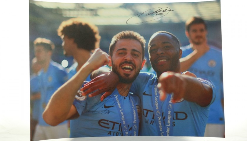 """Bernardo Silva & Raheem Sterling celebrating at Brighton"" Signed Picture"