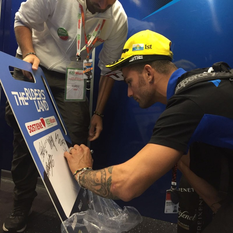 """KiSS Misano """"The Riders' Land"""" Banner Signed by MotoGP Racers"""