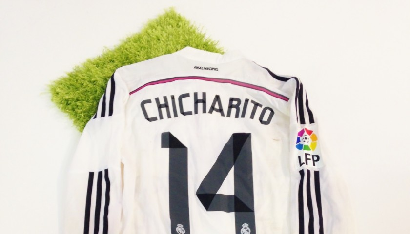 size 40 ee6df e2503 Chicharito Hernandez match worn and unwashed shirt, Milan - Real Madrid  2014. - CharityStars