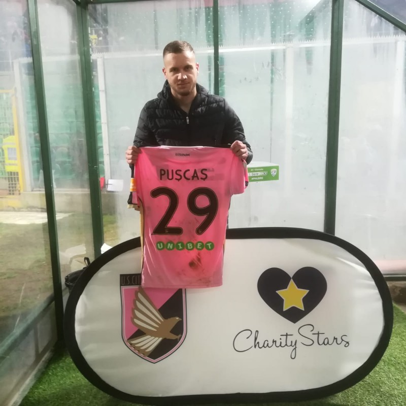 Puscas' Worn and Signed Shirt, Palermo-Brescia 2019