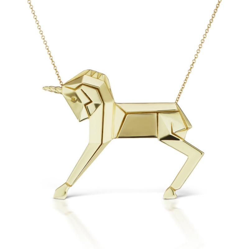 Gold and Diamond Unicorn Necklace by Mas Bisjoux