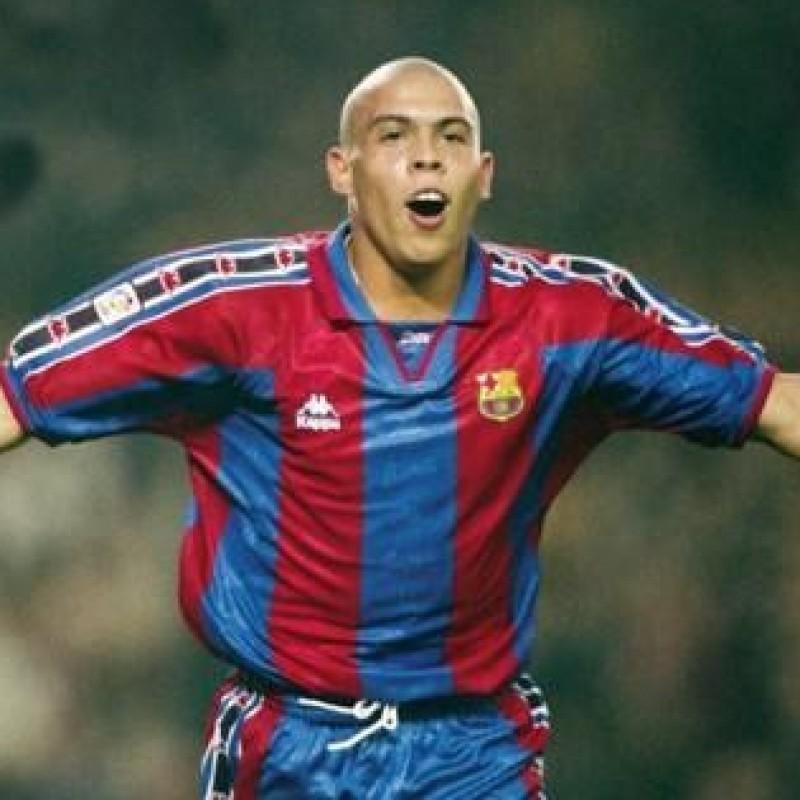 Barcelona Retro Shirt - Signed by Ronaldo