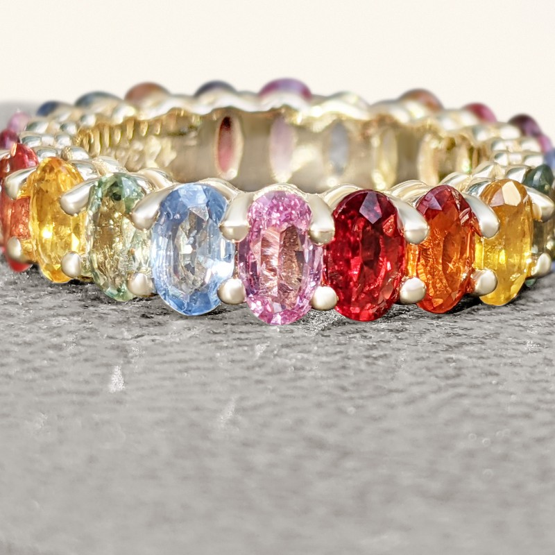 Multiple Color Natural Sapphire Eternity Band - 14K Gold