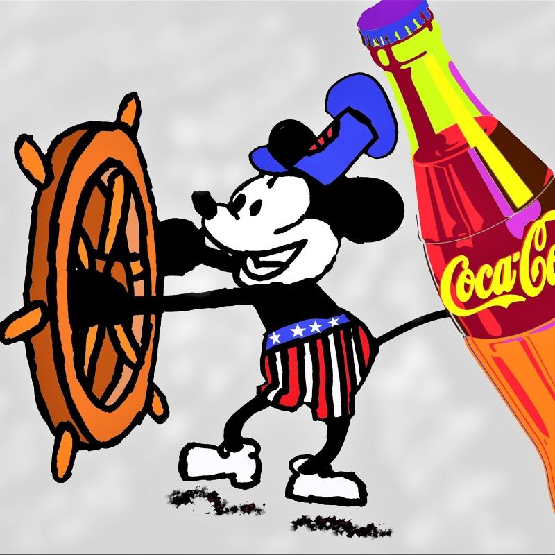 """""""Mickey Mouse Coca-Cola"""" Original Limited Edition Board by J.E."""