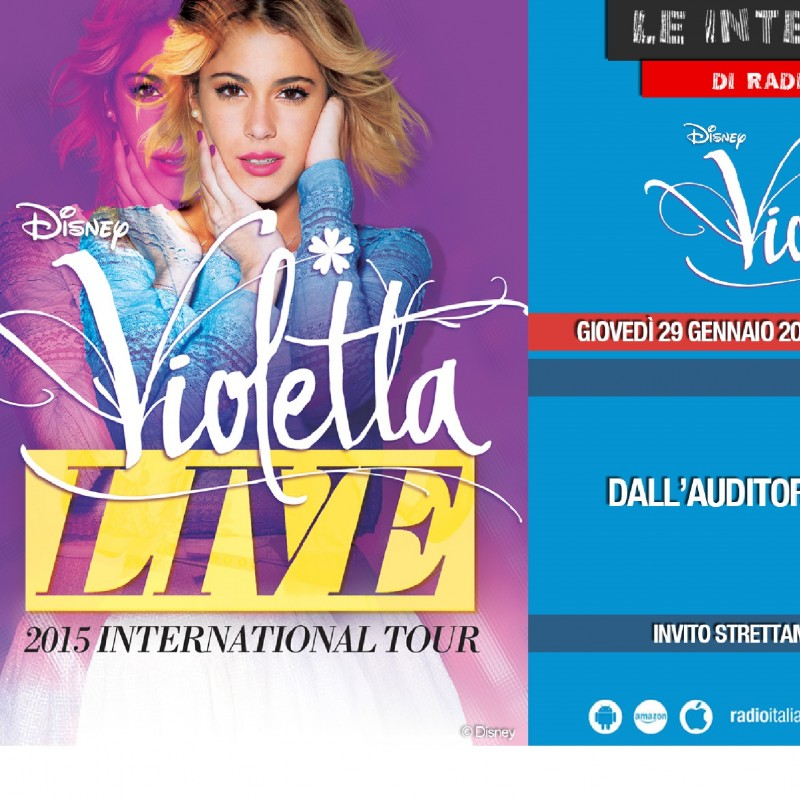 3 passes for Violetta live-interview on 29th January at Radio Italia Auditorium -DISNEY
