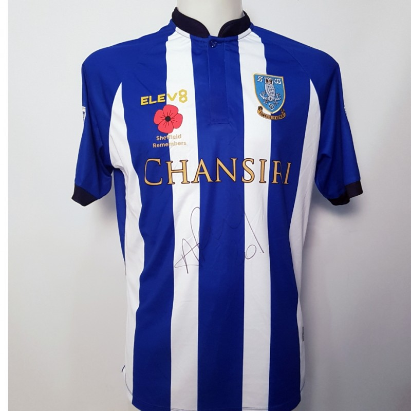 Michael Hector's Sheffield Wednesday Worn and Signed Poppy Home Shirt