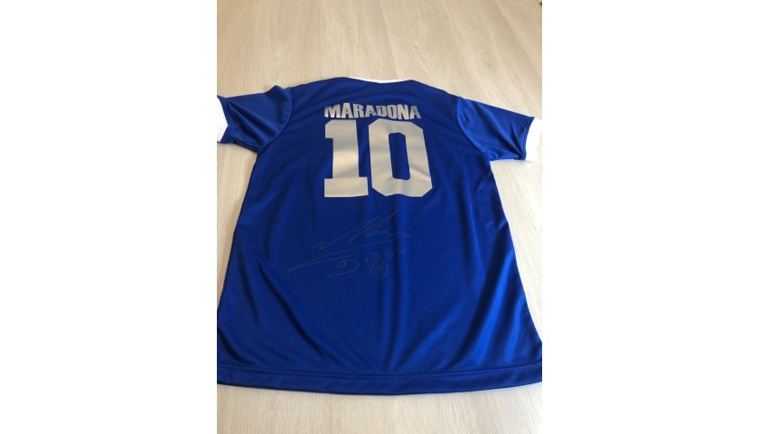 Official Argentina 86 Away Shirt Signed by Diego Maradona