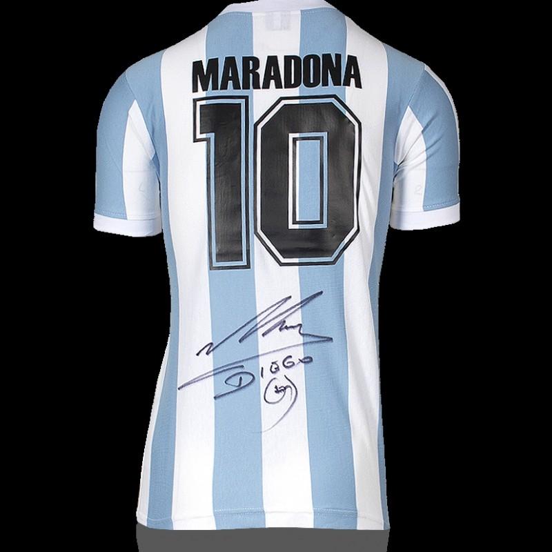 Diego Maradona Back Signed Argentina 1986 Home Shirt