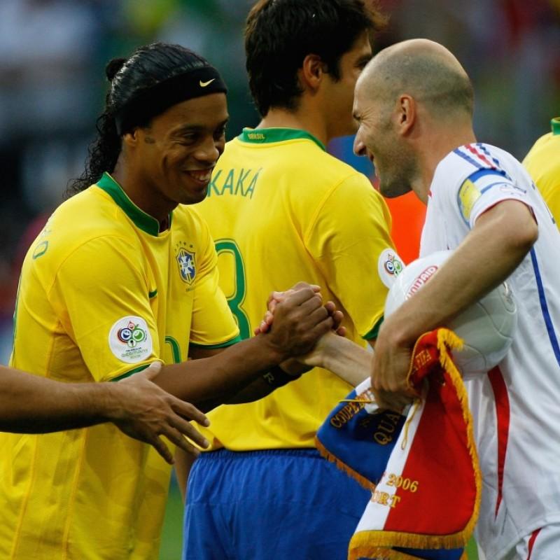 Maglia gara Ronaldinho Brasile, WC 2006 - Autografata dalla rosa