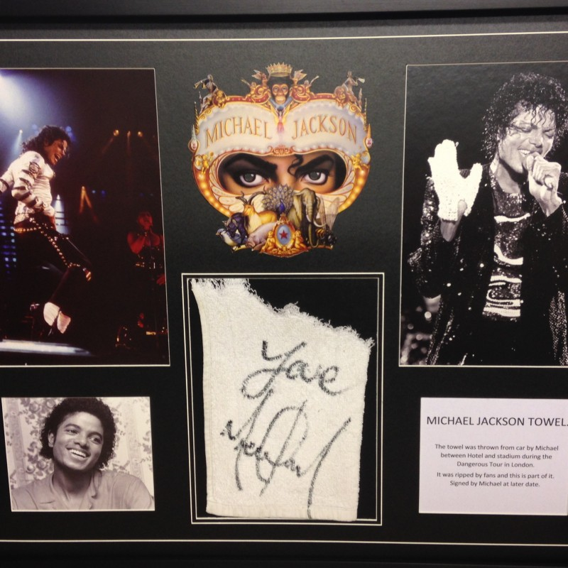 Michael Jackson Signed Towel Display