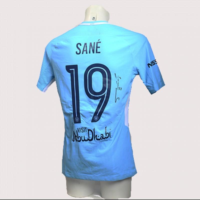 Leroy Sané Match-Worn Signed Manchester Derby Shirt