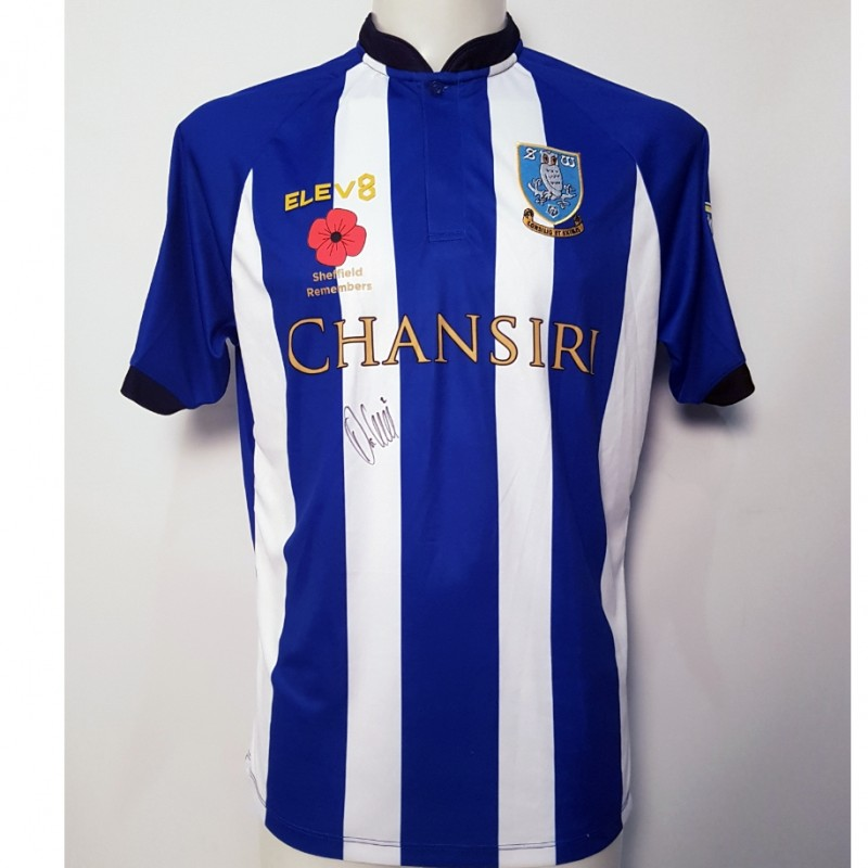 Liam Palmer's Sheffield Wednesday Worn and Signed Poppy Home Shirt