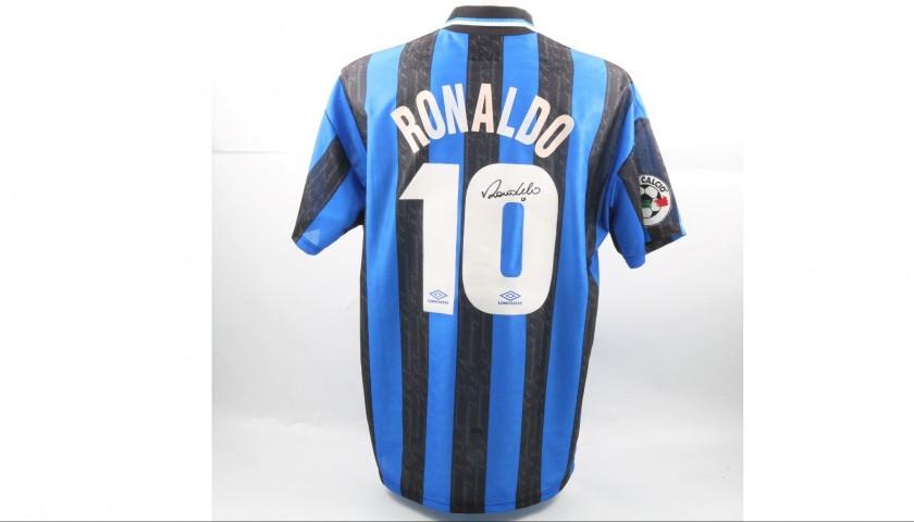 Signed Official 1997 98 Ronaldo Inter Shirt - CharityStars 0eaa841e1
