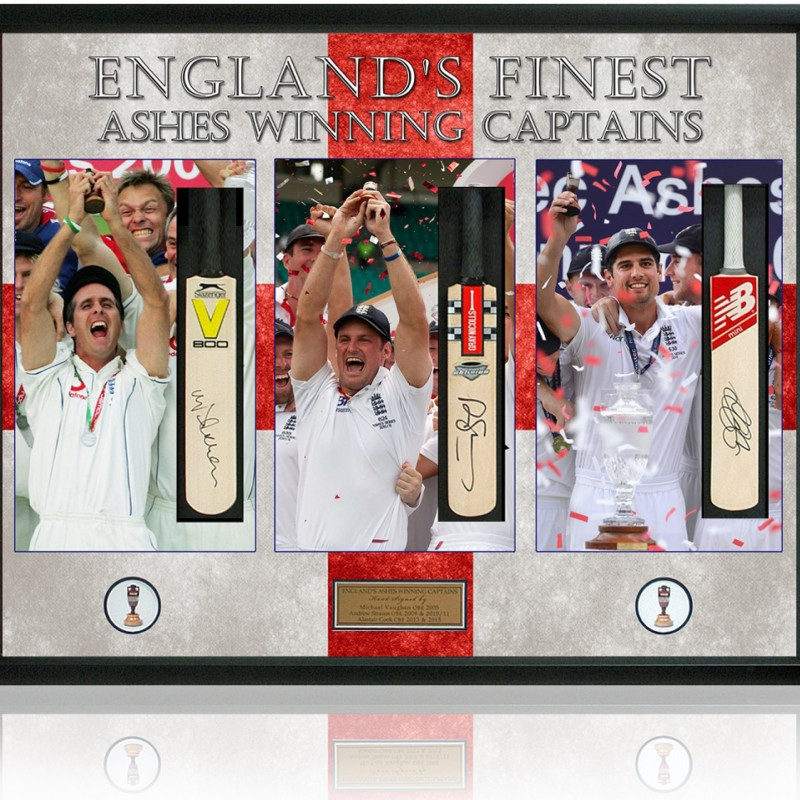 England Ashes Captains Hand Signed by Vaughan, Strauss & Cook