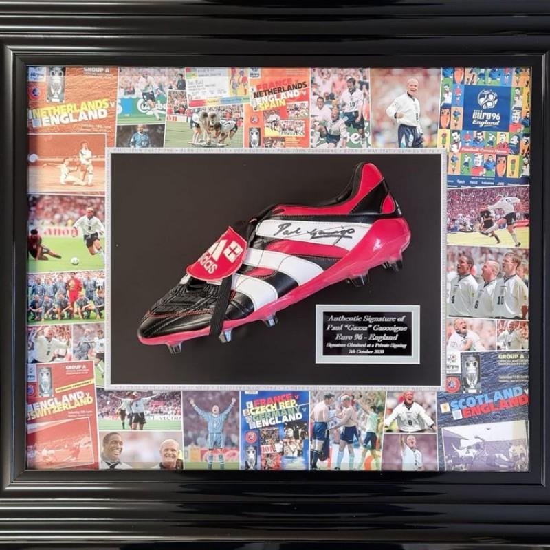 Paul Gascoigne Signed Predator Football Red Boot
