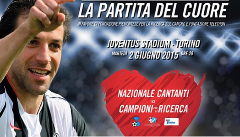 "Join the ""Campioni per la Ricerca"" team for the ""Partita del Cuore"" match at Juventus Stadium"