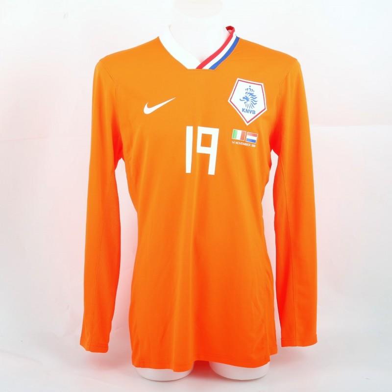 Huntelaar Match-Issued/Worn Shirt, Italy-Netherlands 2009