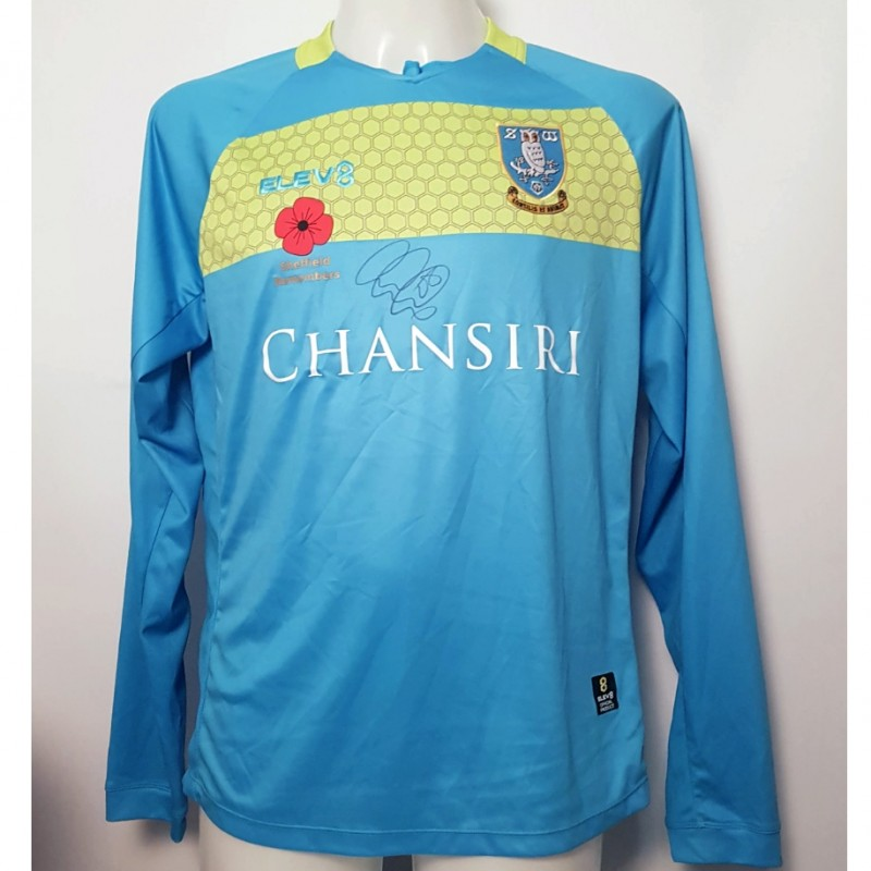 Joe Wildsmith's Sheffield Wednesday Worn and Signed Poppy Home Shirt (Long Sleeve)
