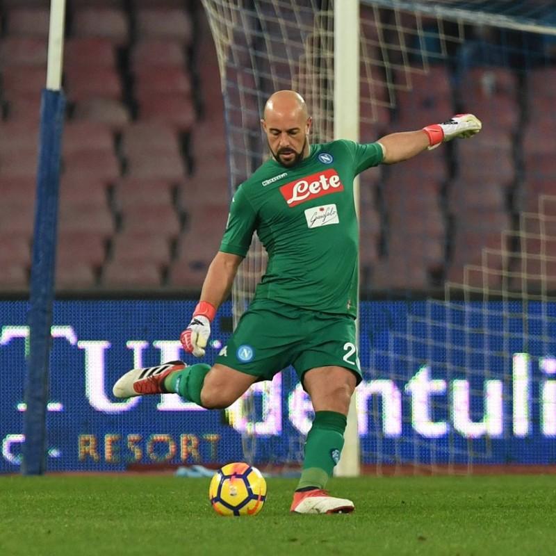 2017/18 Napoli Unwashed Shorts Worn/Signed by Reina