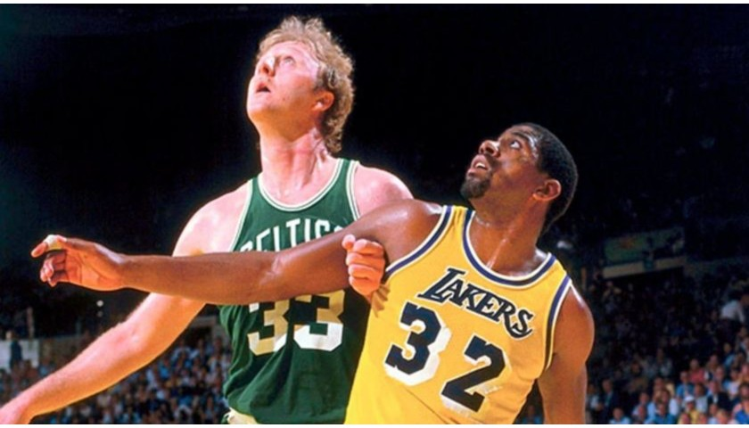 Larry Bird & Magic Johnson Signed NBA Basketball