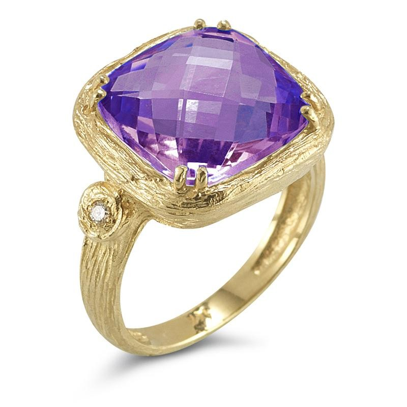 Reiss 14K Purple Amethyst & Diamond Ring