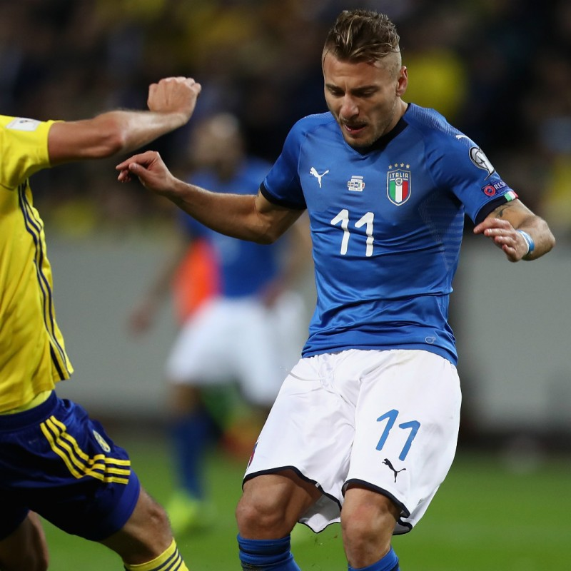 Immobile's Match-Issue/Worn Shirt, Sweden-Italy 2017