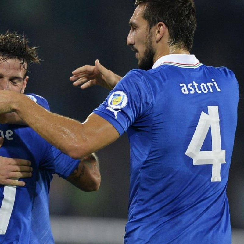 Astori's Issued/Worn Italy Shirt, 2014 FIFA World Cup Qualifiers