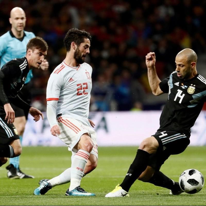 Aguero's Match-Issue Spain-Argentina 2018 Shirt