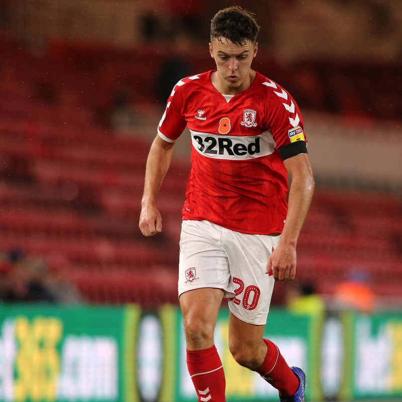Dael Fry's Middlesbrough Worn and Signed Home Poppy Shirt