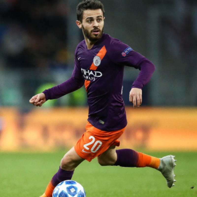 Bernardo Silva's Manchester City Match Shorts Orange, Premier League 2018/19