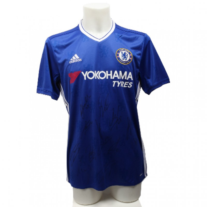 Chelsea FC Home Shirt 2016/2017 Season Signed by Players