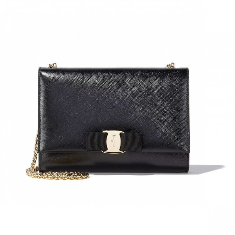 Ferragamo Black Leather Handbag Tote